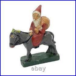 2 Santa Claus Belsnickle Figures Vintage German Christmas, 1920 -1930s
