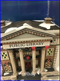 DEPT 56 Christmas In The City HUDSON PUBLIC LIBRARY rare Building