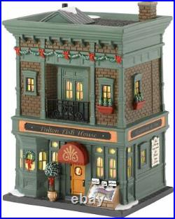 Department 56 Christmas in the City Village Fulton Fish Lit House 4030345 NEW