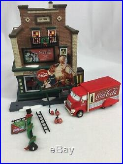 Dept 56 Christmas In The City Series Coca-Cola Soda Fountain & Truck VG