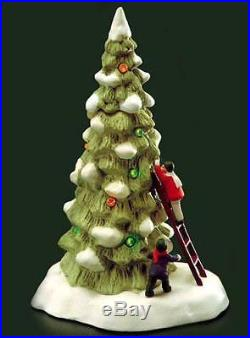 Dept 56 Christmas In The City Village Lighted Tree With Children and Ladder MINT