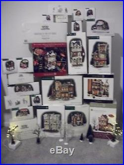 Dept 56 Christmas in the City Lot of 8 Buildings, 16 Access, & Trees & Shrubs